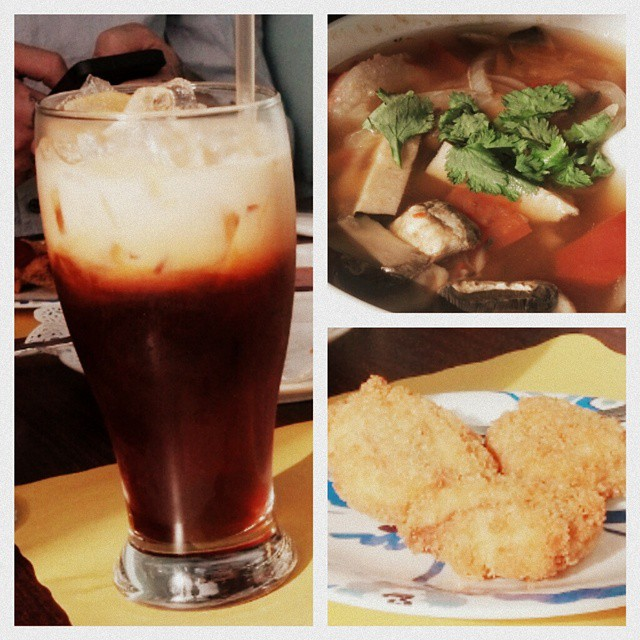 Best lunch. First Thai iced tea since I've been vegan. Vegan chicken nuggets and seafood tom yum soup. And Thriller!