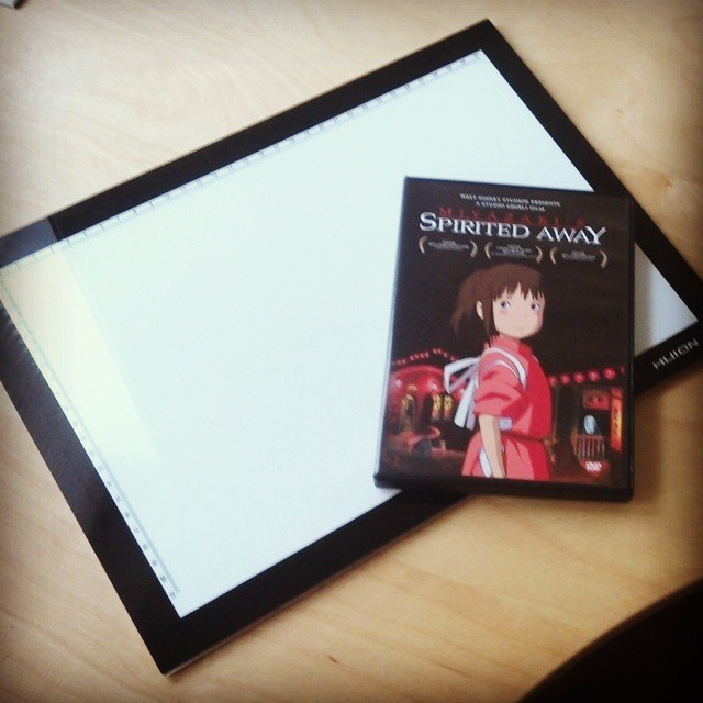 So excited! Spirited Away and a super thin LED light pad from my sweetie!